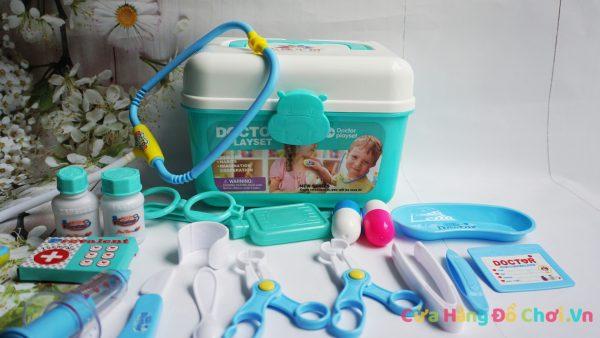 Bộ đồ chơi cho bé tập làm bác sĩ khám bệnh 18 món màu xanh